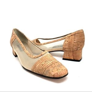 Vaneli Cork and Mesh Heels